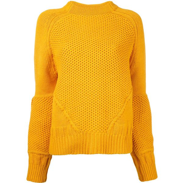 Le Ciel Bleu balloon sleeve jumper (€135) ❤ liked on Polyvore featuring tops, sweaters, orange jumper, orange sweater, balloon sleeve top, orange top and jumper top