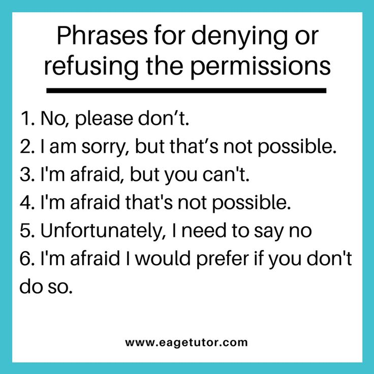 Phrases for denying or refusing the permissions