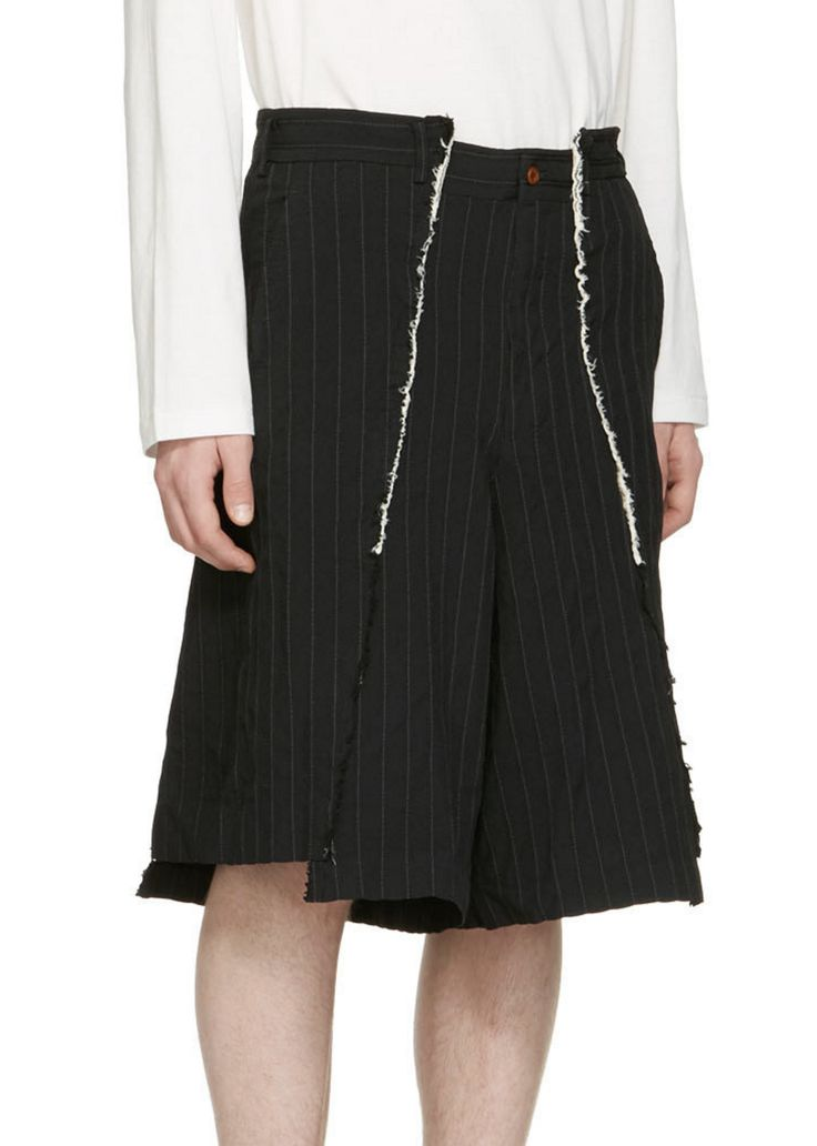Comme des Garçons Homme Plus Black Pinstripe Shorts from SSENSE (men, style, fashion, clothing, shopping, recommendations, stylish, menswear, male, streetstyle, inspo, outfit, fall, winter, spring, summer, personal)