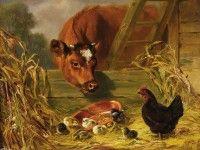 Скачать обои домашние животные, сцена на скотном дворе, Arthur Fitzwilliam Tait 1600x1200