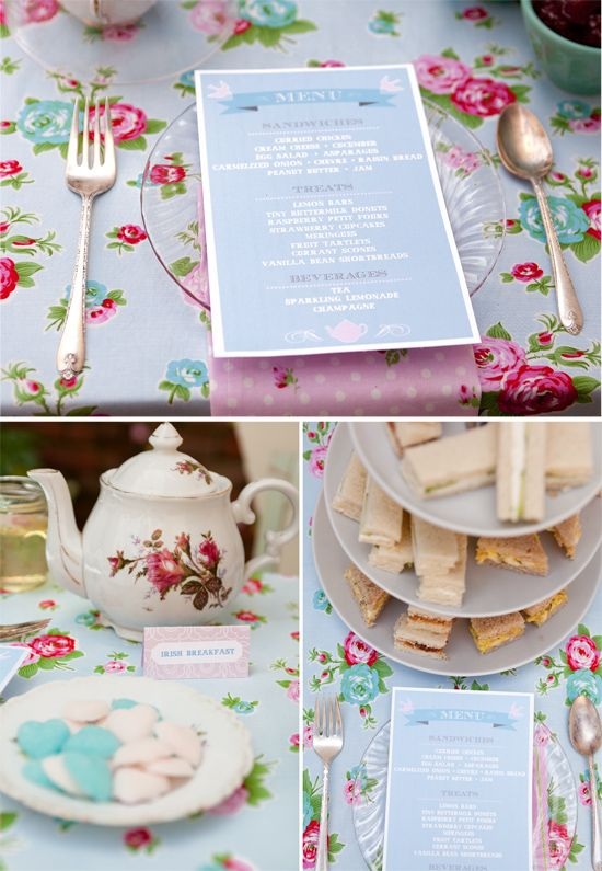 cute ideas for a tea party on this site I love the menus and the labels for the tea