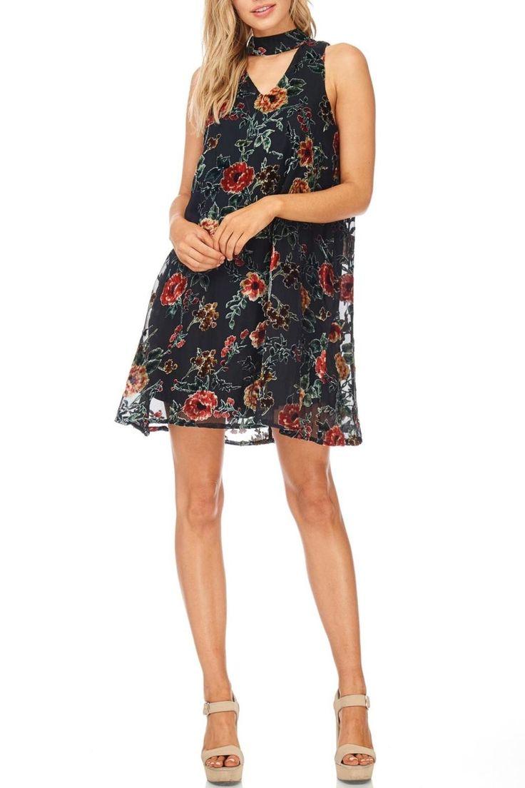 Fully lined velvet textured patterned choker A-line dress.   Black Floral Velvet Dress by She + Sky. Clothing - Dresses - A-line Colorado