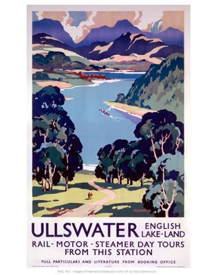 Ullswater lakes on VintageRailPosters.co.uk Prints I'd love one of these :-)