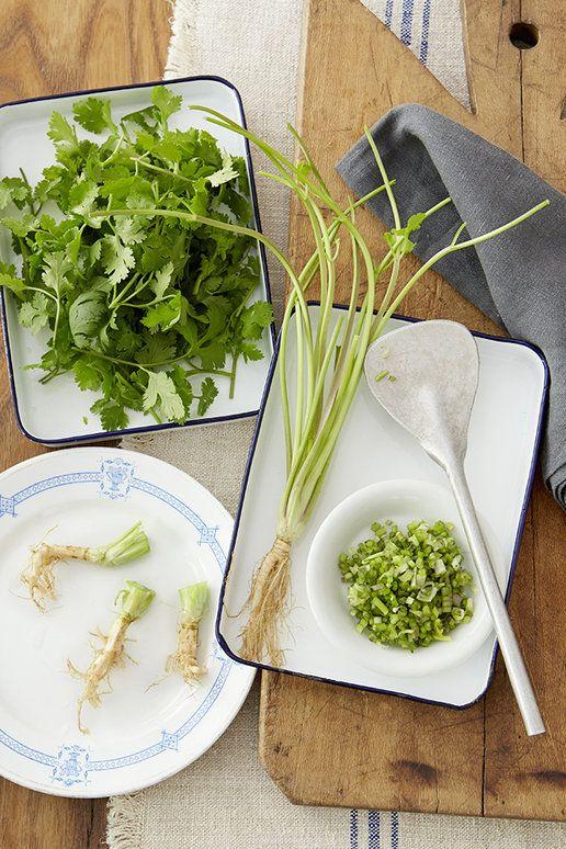 根も茎も。パクチーは捨てるとこなし | 食材として入手しやすくなったパクチー。「 スーパーでは、葉だけパックにして売られていることも多いのですが、パクチーは捨てるところのないハーブ。茎はもちろん、根っこも活用できるんです」と植松さん。実際、タイでは根の部分を実によく使う。スープストックにしたり、潰して調味料にしたり、肉団子などの隠し味にしたりと、むしろ根をメインに使う印象があるそう。またパクチーの種は「コリアンダーシード」として売られていて、パクチーを使った料理のトッピングにぴったり。パウダー状の種の粉末は、カレー粉には欠かせないスパイスでもある。 根がついているパクチーなら、立てて根の部分を水に浸しておけば数日はキープできる。パクチーの葉と茎はデリケートなので、湿らせた新聞紙で全体をふんわりと包んでビニール袋に入れて保存すれば、長持ちする。葉が元気のない場合は、全体をしっかりと水に浸せばピンと元気に。パクチーの特性を知って、さまざまに活用して。
