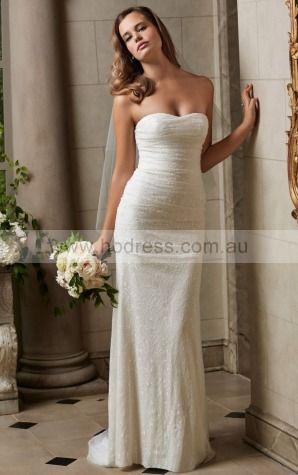 Sheath Strapless Empire Sleeveless Floor-length Wedding Dresses wbs0304--Hodress