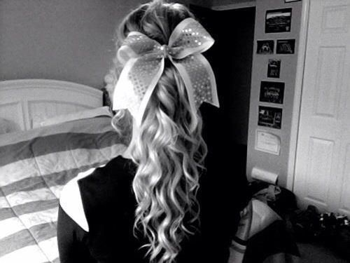 Cheerleader Hairstyles find this pin and more on cheer hair by cheerleaderlexi physie and dance hairstyles Cute Curly Cheer Hair