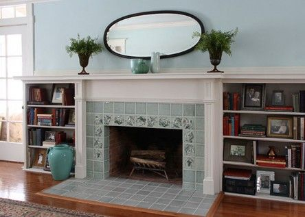 Fireplace after installation of art tile: Arts & Crafts meets Colonial Revival.