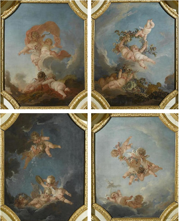 The four seasons, by François Boucher (Paris, 1703 - 1770)     1753    Allegory of the four seasons with cupids, painted for the ceiling of the Council Hall (salle du Conseil) of the château de Fontainebleau