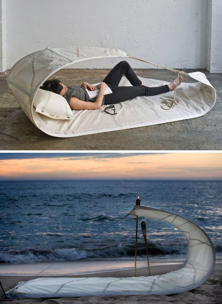 Recycled sails, perfect for outdoor as for indoor!Recycle Ideas, Beds Products, Beach Sea, Good Ideas, Recycle Sailing, Cosy Outdoor, Brainstorming Design, Products Design, Ideas Ads