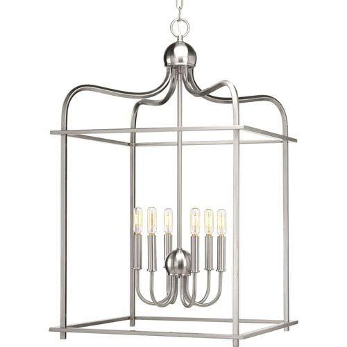 P500037-009: Assembly Hall Brushed Nickel Six-Light Lantern Pendant