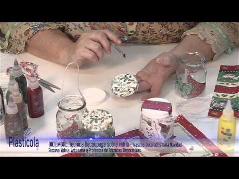 Botellas decoradas con servilletas Navideñas - YouTube
