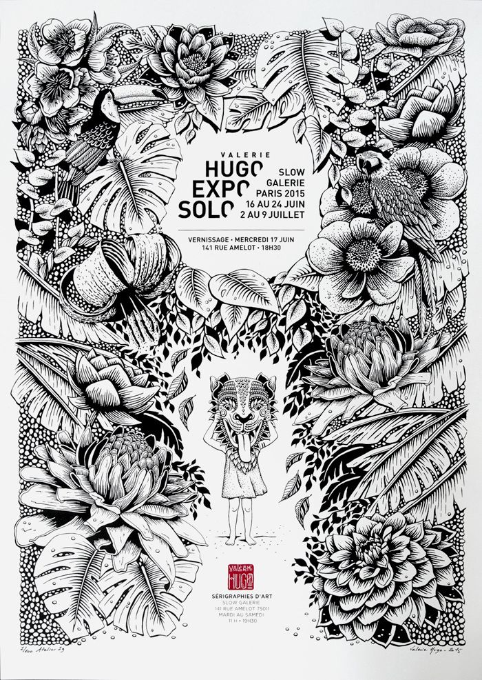 Expo / Solo / Valerie Hugo / Pub / Affiche / Publicité / Poster / Black and White / Illustration