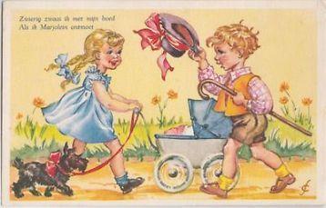 Fantasie Kinderwagen Meisje Hond Jaren 50 oude kaart AW90