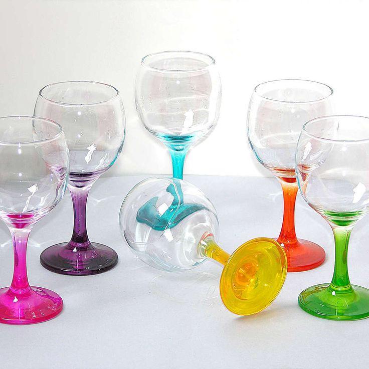 6 bunte Weingläser, Rotwein Glas, Weinkelch, bunt Weinglas, farbige Gläser SET