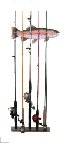 1000 images about fishing rod rack on pinterest rolling for Fishing pole wall rack