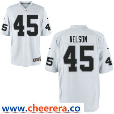 8097343eb Men s Oakland Raiders  45 Nick Nelson White Road Stitched NFL Nike Game  Jersey