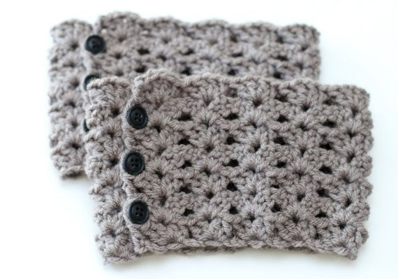 Grey Adjustable Boot Cuffs Crochet Boot by 2BoredMomsCreations