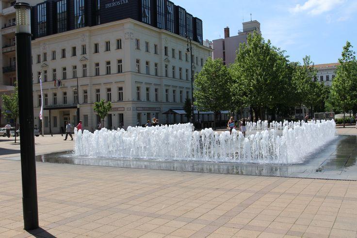 A fountain on Szabadság Square.