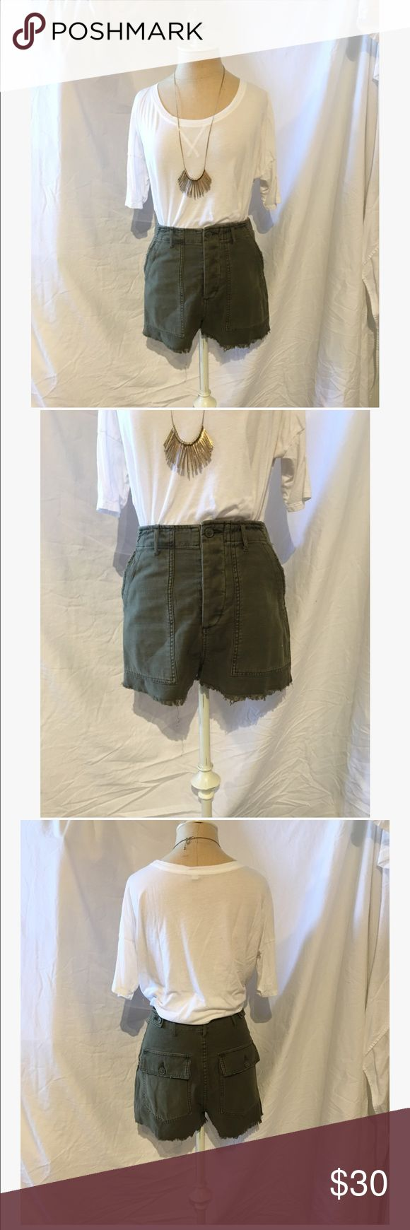 Urban Outfitters High Waisted Army Shorts 5 buttons, fringe ends, high waisted Urban Outfitters Shorts