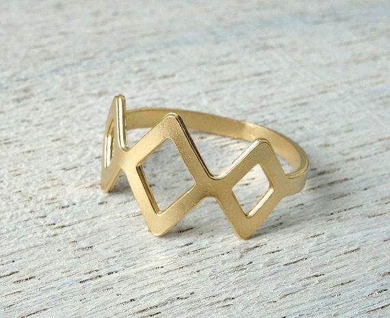 Tulum anneau, anneau d'empilement géométrique, bijoux de style mexicain