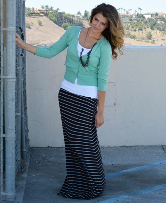 Black with Small Grey Stripes - not maxi but pencil skirt, white ...