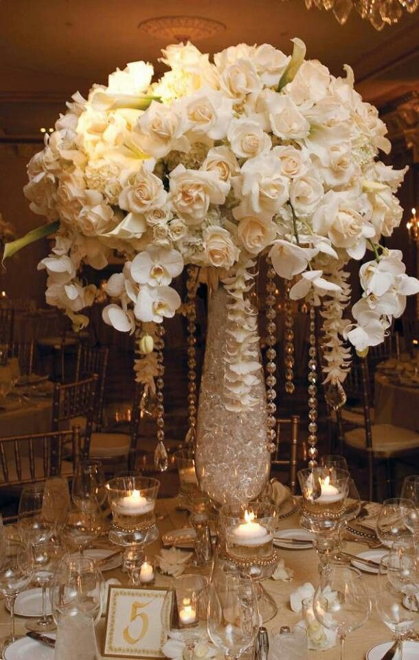 White and gold centerpieces a wedding winterland my