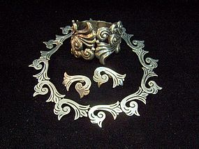 Carved 980 Taxco Vintage Mexican Silver Necklace Ears (item #1103461)