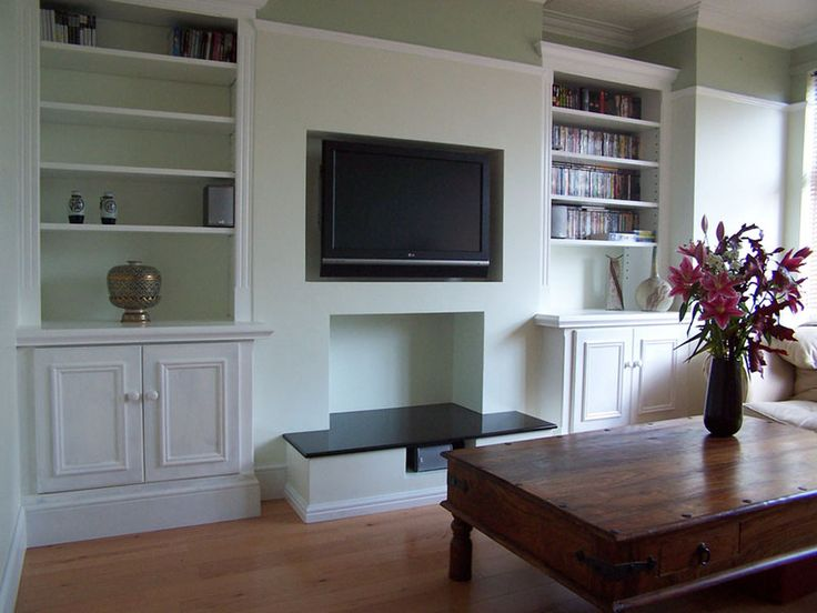 Built in shelving around chimney breast for the home for Front room storage