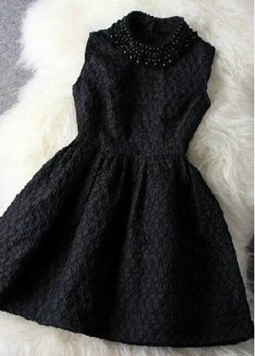 Black Sleeveless Bead Embellished A Line Dress on sale only US$25.20 now, buy cheap Black Sleeveless Bead Embellished A Line Dress at modlily.com