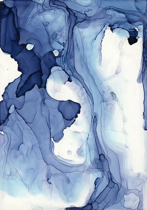 "Blueline No. 4 ~ artist Andrea Pramuk, c.2013; alcohol inks on claybord.  From Pramuk's ""After-life"" collection, inspired by the oil spill in the Gulf.  #art #painting #abstract"