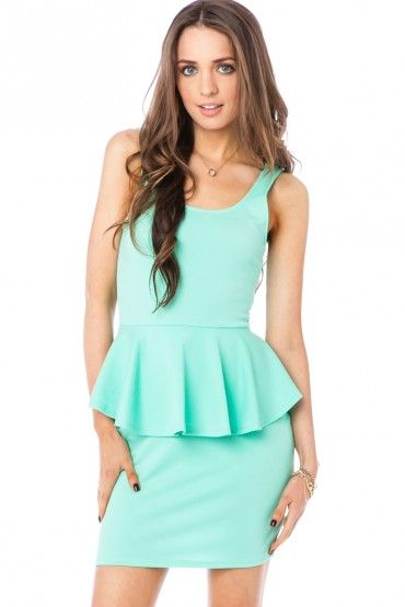 Alicia Peplum Dress in Mint
