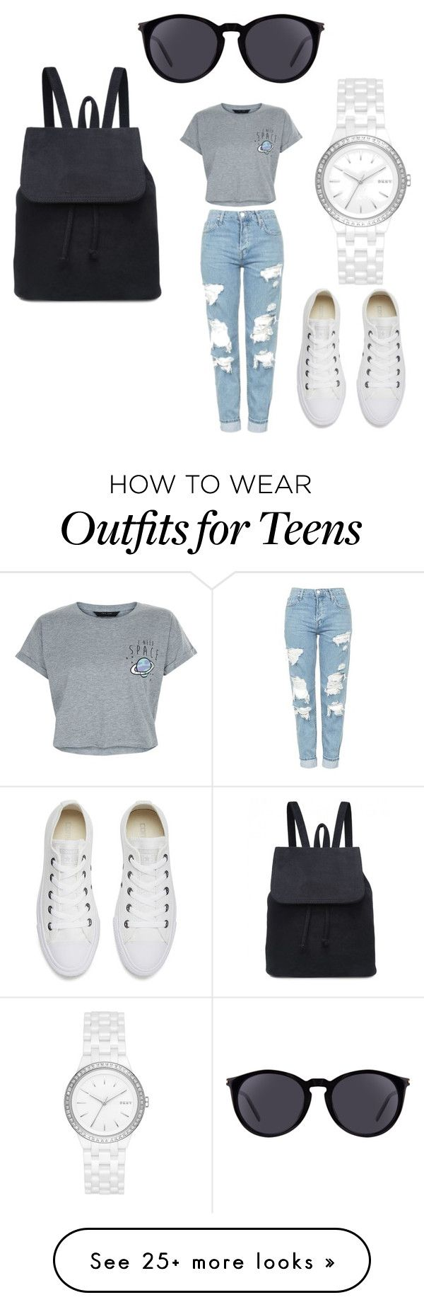 """""""cool and casual?"""" by amee-p-thakrar on Polyvore featuring Topshop, New Look, Converse, DKNY and Yves Saint Laurent"""