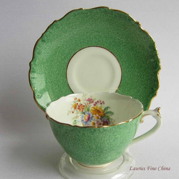 Coalport 9507 Unusual Green with Floral inside cup Scalloped