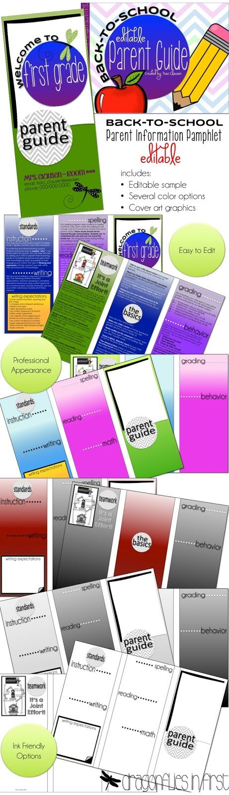 Parent Guide - Pamphlet for back-to-school or parent information night - EDITABLE! Several different color-combo template included.
