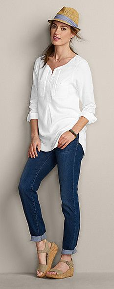 comfy casual. Like the tunic style shirt,I own this shirt in 2 different colors and really like it.