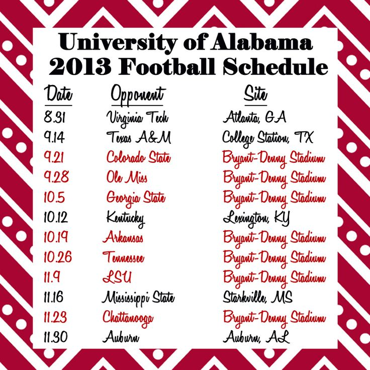 2013 Alabama Football Schedule!