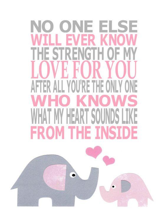 The Strength of My Love - Elephant Nursery Theme - Kids Wall Art Nursery Art Baby Girl Room Decor by vtdesigns, $9.00