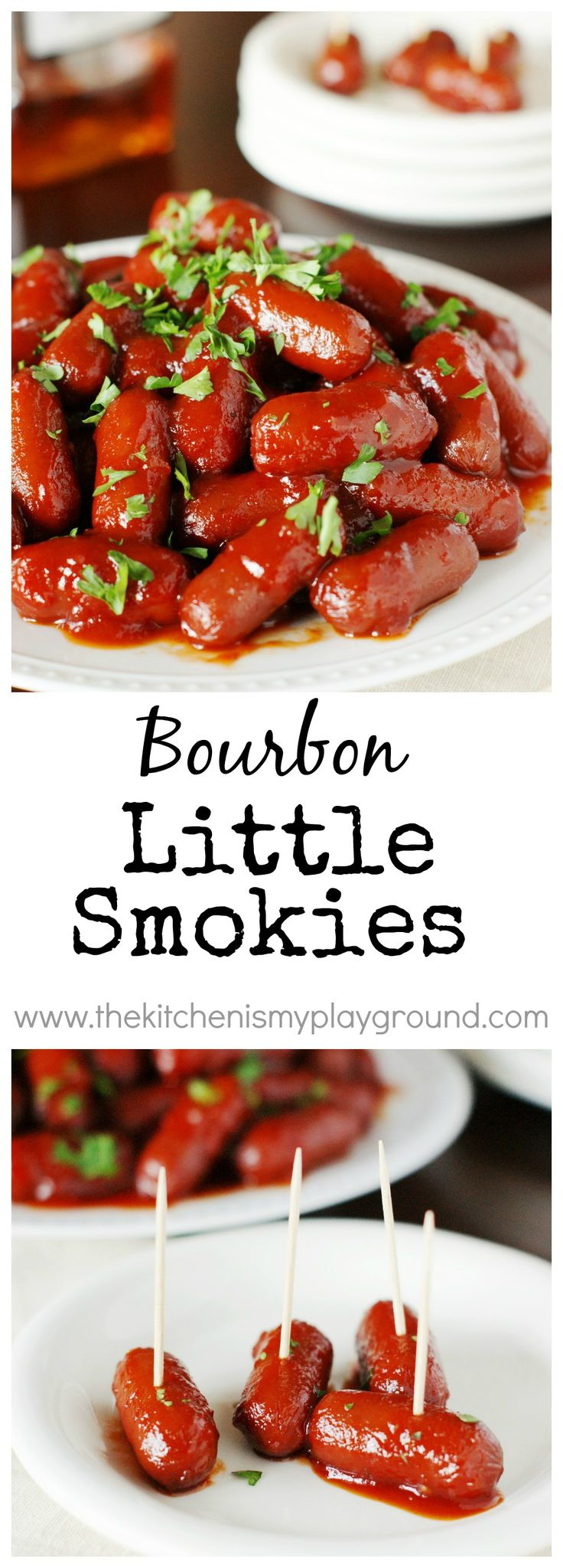 Bourbon Little Smokies ~ party-perfect!  Simmer on the stove top or in a crockpot. #gameday #gamedayfood #Bourbon #littlesmokies #crockpotrecipes #partyfood www.thekitchenismyplayground.com
