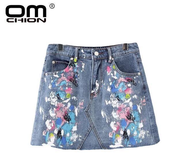 Fashion Women Splash-Ink Multi Color Jeans Skirt New Summer Mini Skirt Style Casual Denim Skirts