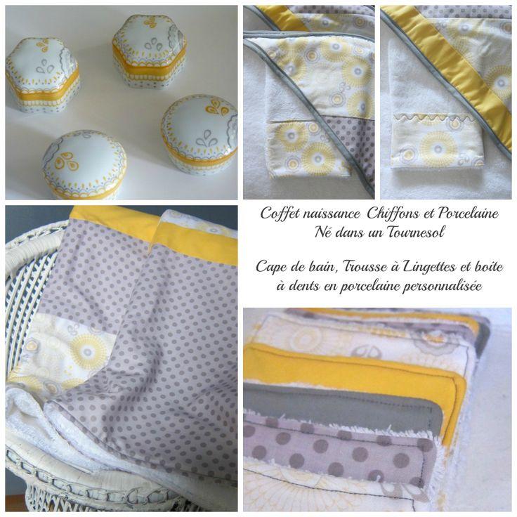 Cadeau de naissance chiffons et porcelaine  cape de bain et boite à dents en porcelaine .