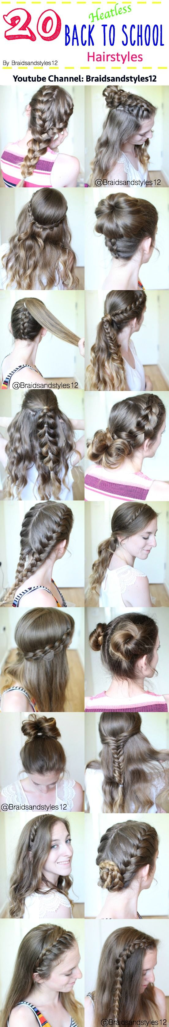 Heatless Back to School Hairstyles / Back to School Ideas  by Braidsandstyles12. Hair Tutorial : https://www.youtube.com/watch?v=kqEhAIuJA1g or search Braidsandstyles12 on Youtube.