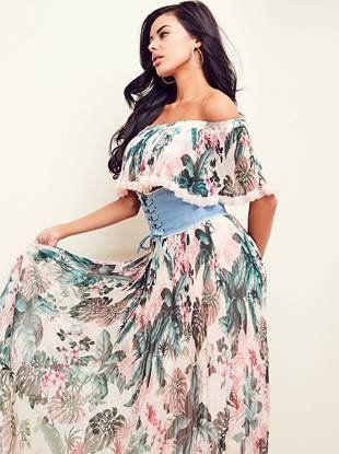 Vanessa Floral Pleated Maxi Dress   shop.GUESS.com