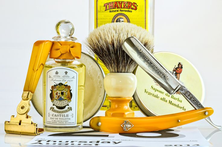 "La Saponeria Artigiana almond shave soap, restored Erskine 395 badger brush, Puma 88 5/8"" straight razor, Schick injector razor, Thayers Lemon witch hazel, Penhaligon's Castile cologne, August 28, 2014"