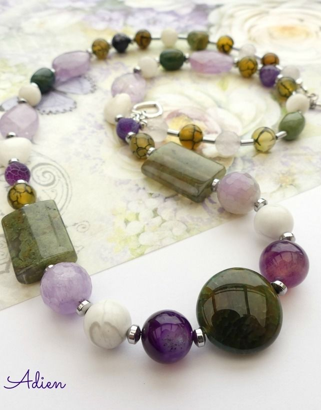 Purple and Green Mixed Gemstone Necklace £14.95