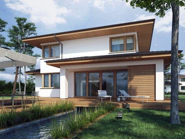 Piękna piętrowa willa z nadmorskim charakterem. Prosta bryła o kubicznych kształtach została przykryta czterospadowym dachem o niskim kącie nachylenia.