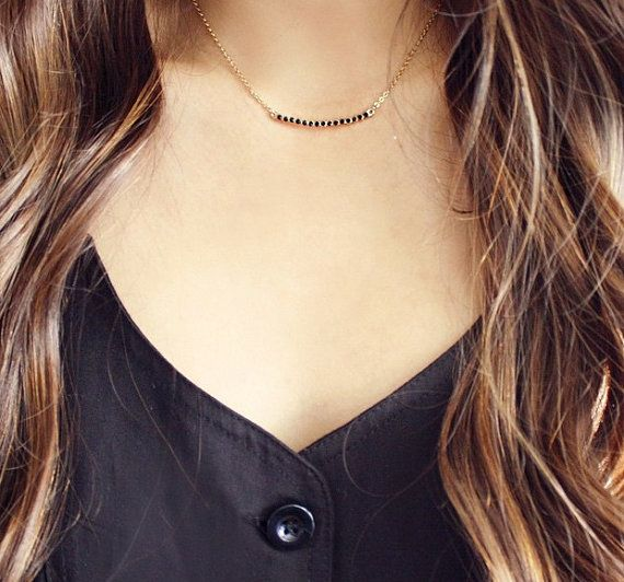 Dainty gold plated necklace with black crystal curved bar pendant or pearl curved bar pendant. Great for layering!