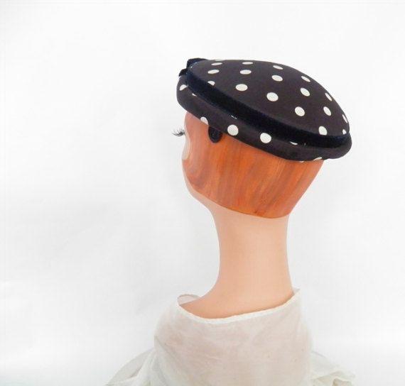 1950s cocktail hat vintage navy blue white polka dots