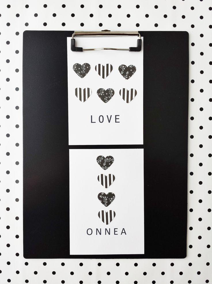 www.facebook.com/kotona.sisustustuotteet KORTTI musta-valkea: LOVE ja ONNEA