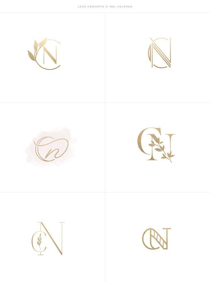 Charlotte Nichols Wedding Brand by Mel Volkman Gold Foil Elegant Branding Custom Logo Modern Logo Floral Botanical