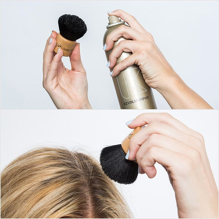 Fly away hairs: Solution: a kabuki brush. Spritz a makeup brush (one that you won't be using on your face again) with hair spray like Kevin Murphy Session Spray ($29). Then, use the densely packed hairs to smooth away flyaway hairs.                   Image Source: POPSUGAR Photography / Benjamin Stone